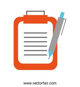 clipboard with office pen isolated icon