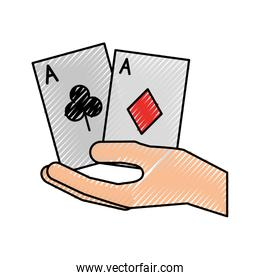 hand human with poker cards