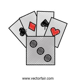 poker card with dice
