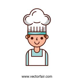 young confident chef man in uniform hat sign