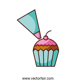 piping bag frosting a cupcake pastry isolated on a white background