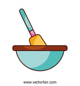 kitchen bowl with spatula utensil equipment for cooking