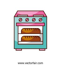 stove oven with two hot bread icon