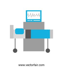 hospital interior with heart rate monitor bed medical equipment