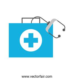 medical kit first aid with stethoscope equipment
