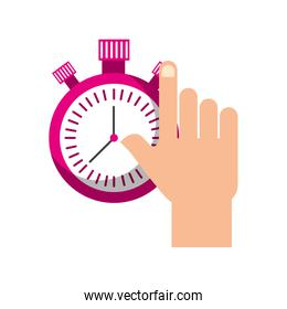 hand holding chronometer control countdown image