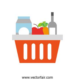basket shopping with bottles drink products icon