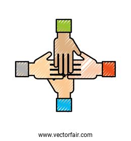 business team showing unity with their hands together business