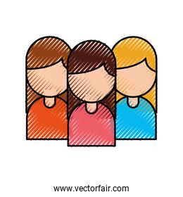 group of business women working people on white background