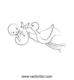 stork with a baby boy in a bag arrival image