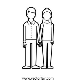 couple of young people man and woman hold hands on a white background
