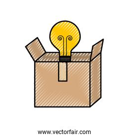 cardboard box with bulb light idea business