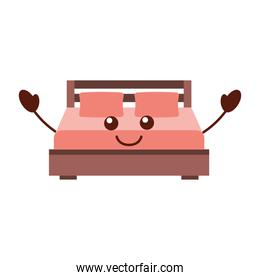 double bed and pillow with blanket bedroom furniture in style cartoon
