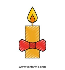 christmas candle wirth red bow decoration