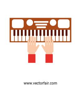 hand with synthesizer electronic instrument keyboard