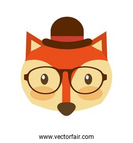 forest fox hipster with hat glasses icon