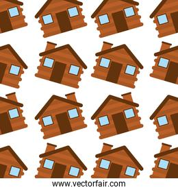 wooden house camping seamless pattern image