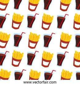 fast food french fries and soda seamless pattern design