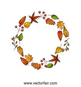 wreath of autumn leaves and fruit beautiful round