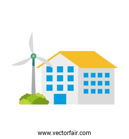 house building with wind turbine eco real estate energy efficient