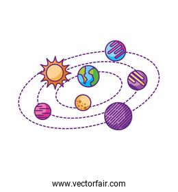 isolated solar system universe galaxy planets sun