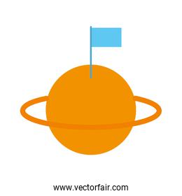 space universe saturn with flag colonization