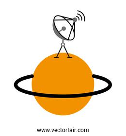 saturn planet with satellite dish trasnmission signal