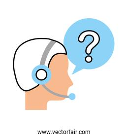 customer service operator with headset and speech bubble
