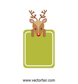 merry christmas reindeer decoration banner