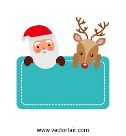 christmas santa claus and reindeer card empty decoration