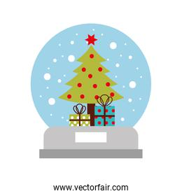 snow globe and christmas fir tree decorated with star balls and gifts box