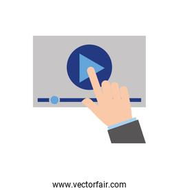 hand touch screen video player button technology