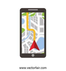 road map direction in mobile phone with arrow pointer