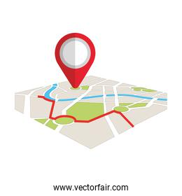 map navigation gps with pointer isolated on white background
