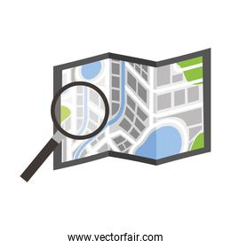 folded map navigation with magnifier search icon