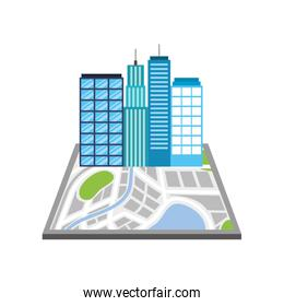 buildings town on the map navigator destination icon