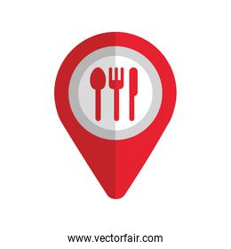 map pin pointer with cafe or restaurant sign icon