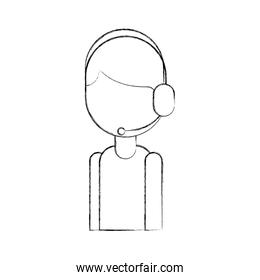 logistic delivery support phone operator in headset icon