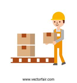 logistic delivery man character holding parcel storage