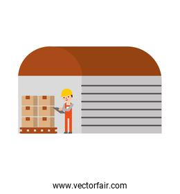 the warehouse worker of the display rack with boxes