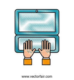 hand business working in laptop order online delivery logistic