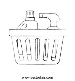laundry basket bottles spray and shampoo plastic object equipment