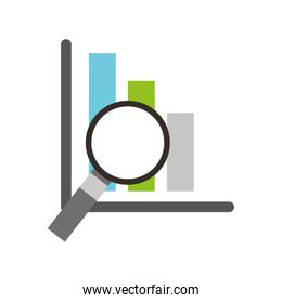 financial analysis business analysis magnifier glass with bar graph