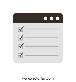 web page check mark report list flat design graphic element