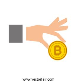 businessman hand holding bitcoin currency digital