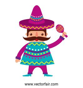 mexican man with maracas and traditional costume
