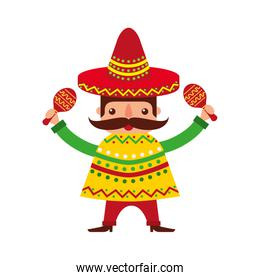 isolated mexican man with maracas and traditional costume