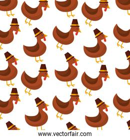 thanksgiving day cute turkey with hat design seamless pattern