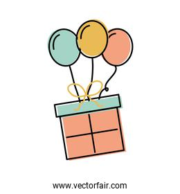 birthday gift box with balloons decoration celebration