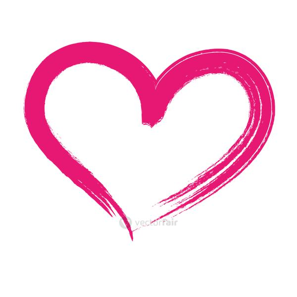 brush drawing heart love isolated icon